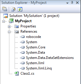 Screenshot that shows the Solution Explorer with all references including 'robocode'