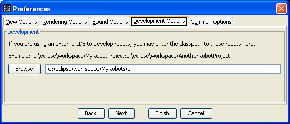 Shows the Development Options pane in the Preferences dialog, which let's the user type or browse to the /robots folder from a project from another IDE