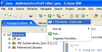 "Shows the popup menu that occurs when the user selects the ""run"" button in Eclipse, where MyRobots launch configuration must be selected in order to run it"