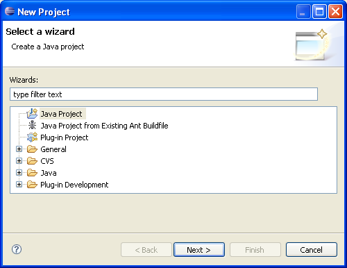 Shows a dialog for creating a new project by selecting a wizard