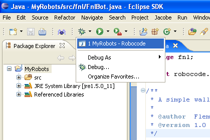 Shows how to start debugging of the MyRobots project in Eclipse