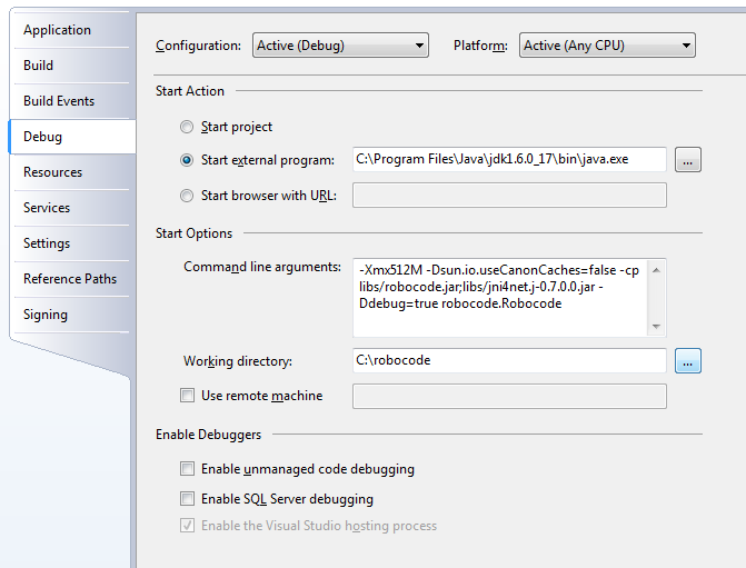 Screenshot that shows the Properties in Visual Studio in the Debug tab, where all parameters for starting up Robocode have been specified