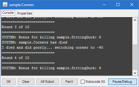 Shows the Robot Console window for the sample robot named Corner