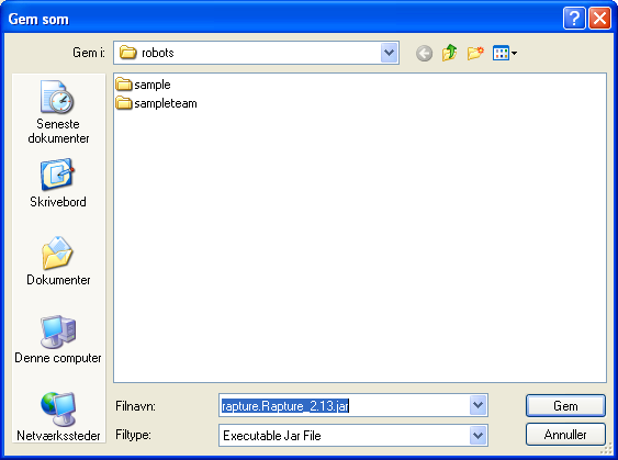 Showing a Save As file dialog for choosing where to save Rapture 2.13