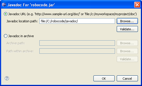 Shows a dialog where the user must specify the URL of the Javadoc location path of Robocode