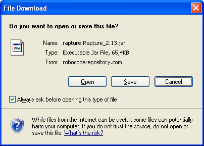 Showing a file dialog for downloading Rapture 2.13