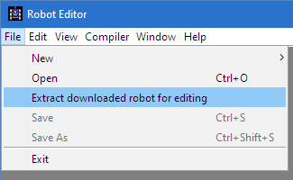 "Shows how to extract a robot by selecting ""Extract downloaded robot for editing"" in the File menu of the Robot Editor"