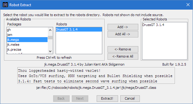 Shows the dialog used when extracting a robot, where the user must choose which robots to extract