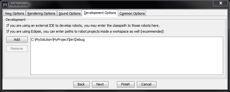Screenshot of the Development Options in Robocode, where the C:\MySolution\MyProject\bin\Debug path has been added