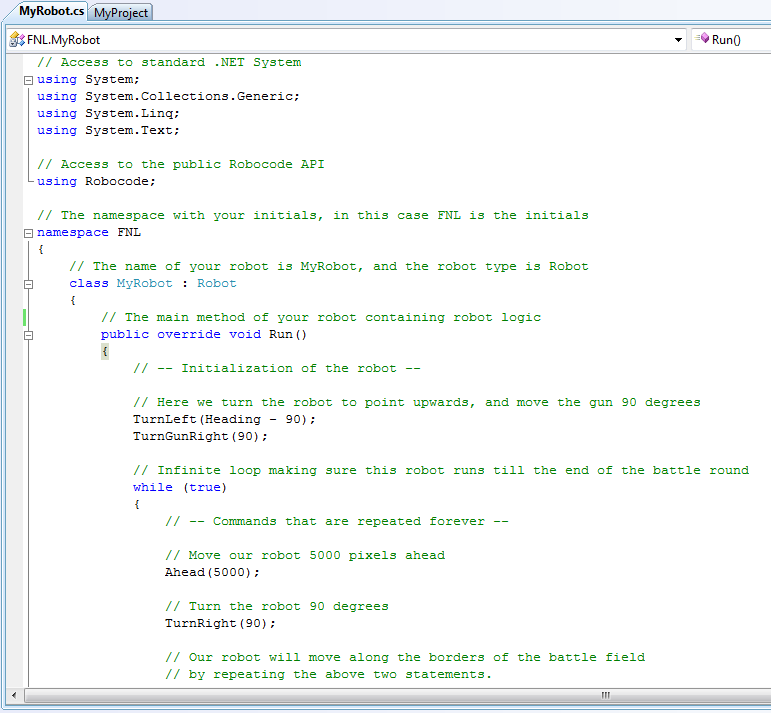 Screenshot that shows the MyRobot.cs source file in the editor