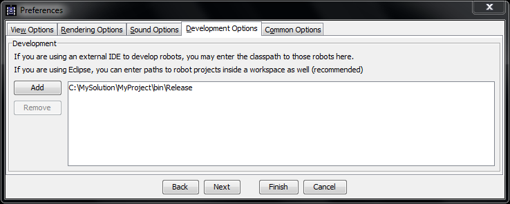 Screenshot from Development Options in Robocode, where the C:\MySolution\MyProject\bin\Release path has been added