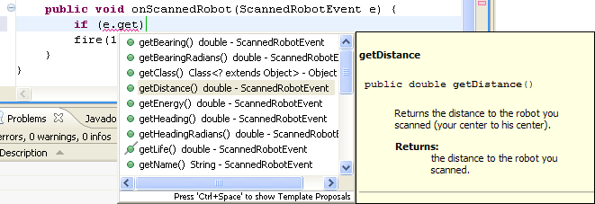 Shows the popup that will occur when the user press CTRL-SPACE on an uncompleted method name, which suggests the method names available based on the letters already typed