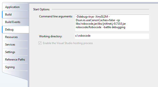 Screenshot that shows the Properties in Visual Studio Express in the Debug tab, where it is possible to change the 'Command line arguments' and 'Working directory' for starting up Robocode