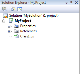 Screenshot that shows the Solution Explorer with the new solution containing MyProject